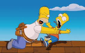 Bart vs Homer na střeše